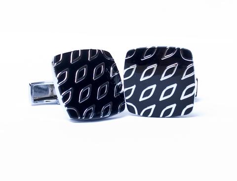 Запонки Quesste квадратные белый металл черные