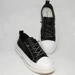 Кожаные спортивные туфли кеды без шнурков женские El Passo sy9002-2 Sport Black-White.