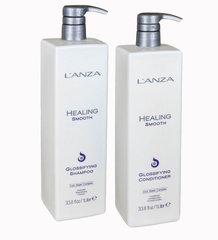 Lanza Healing Smooth шампунь + кондиционер для блеска 1000 мл
