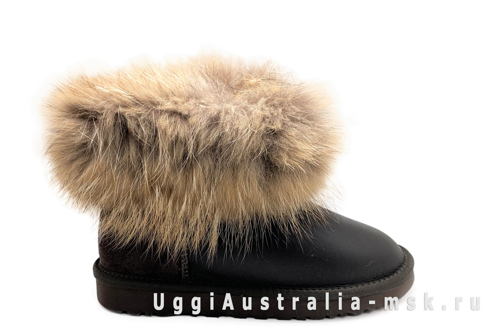 UGG Fox Fur Mini Metallic Chocolate
