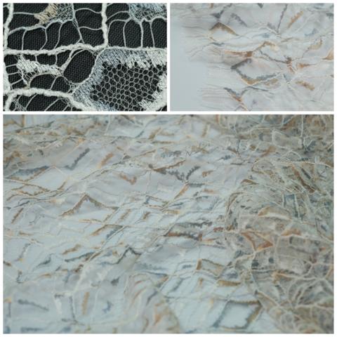 Кружевное полотно SH сетка ромбы Ivoire