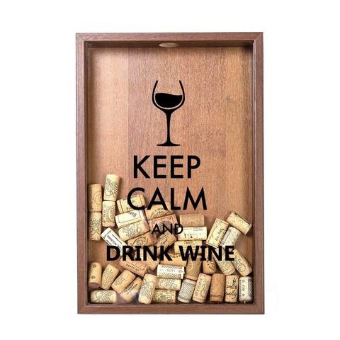 Копилка для винных пробок Keep calm, Орех