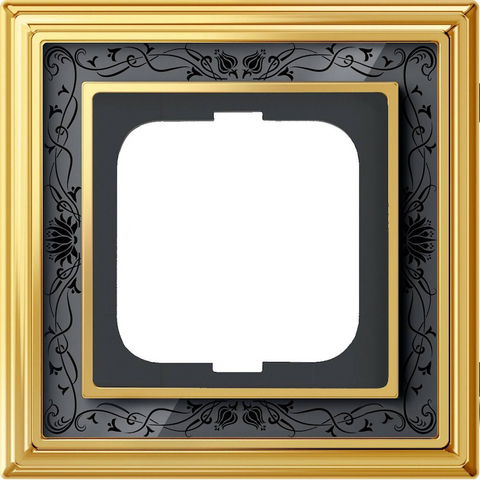 Рамка на 1 пост. Цвет Латунь полированная, чёрная роспись. ABB(АББ). Dynasty(Династия). 1754-0-4575
