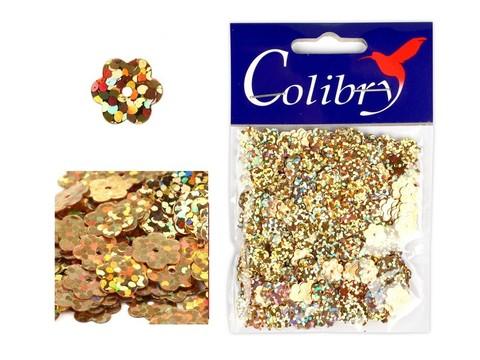 Пайетки фигурные голографические Colibry. Цветы 14*14 мм. Цвет 56