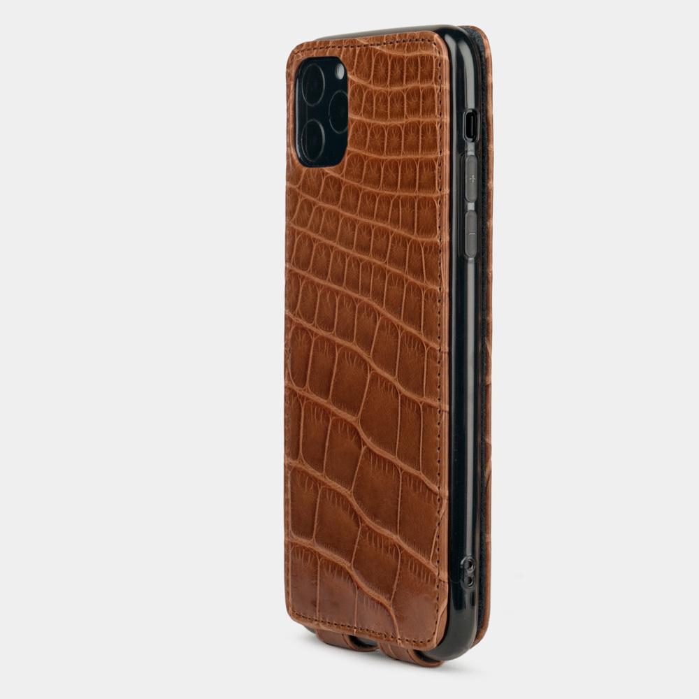 Special order: Чехол для iPhone 11 Pro Max из натуральной кожи крокодила, цвета карамель лак