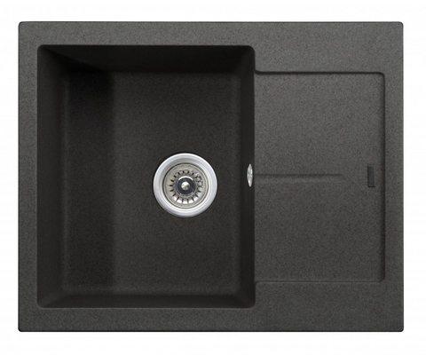 Кухонная гранитная мойка Kaiser KGMK-6250-BP черный мрамор