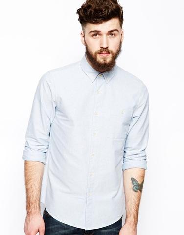 Синяя рубашка-оксфорд с длинными рукавами ASOS