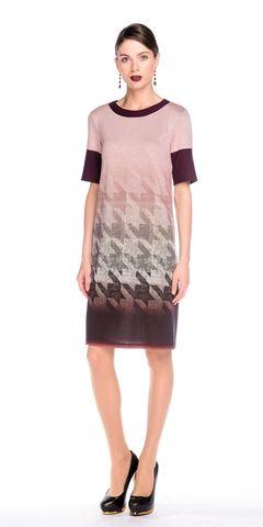 Фото прямое платье с геометрическим принтом и контрастной окантовкой - Платье З118-407 (1)