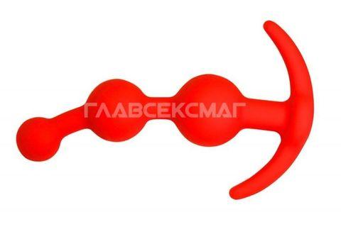 Оранжевая анальная цепочка из 3 звеньев - 13 см.
