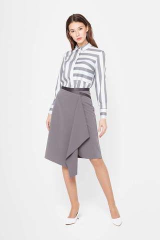 Фото ассиметричная серая юбка а-силуэта с поясом на талии - Юбка Б126-717 (1)