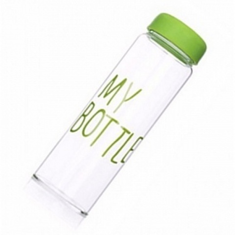 Бутылка для напитков My bottle (май ботл) с мешочком 500 мл Зелёная Green