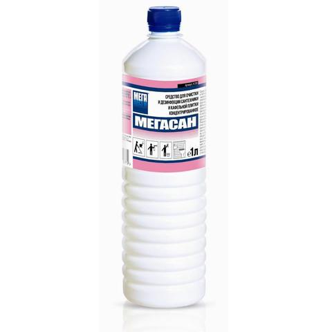 Средство для очистки и дезинфекции сантехники и кафельной плитки Мегасан 1 л (концентрат)