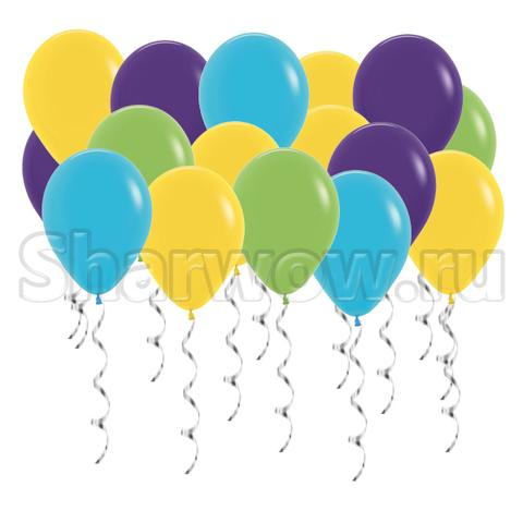 Воздушные шары под потолок Синяя бирюза, желтый, фиолетовый и салатовый
