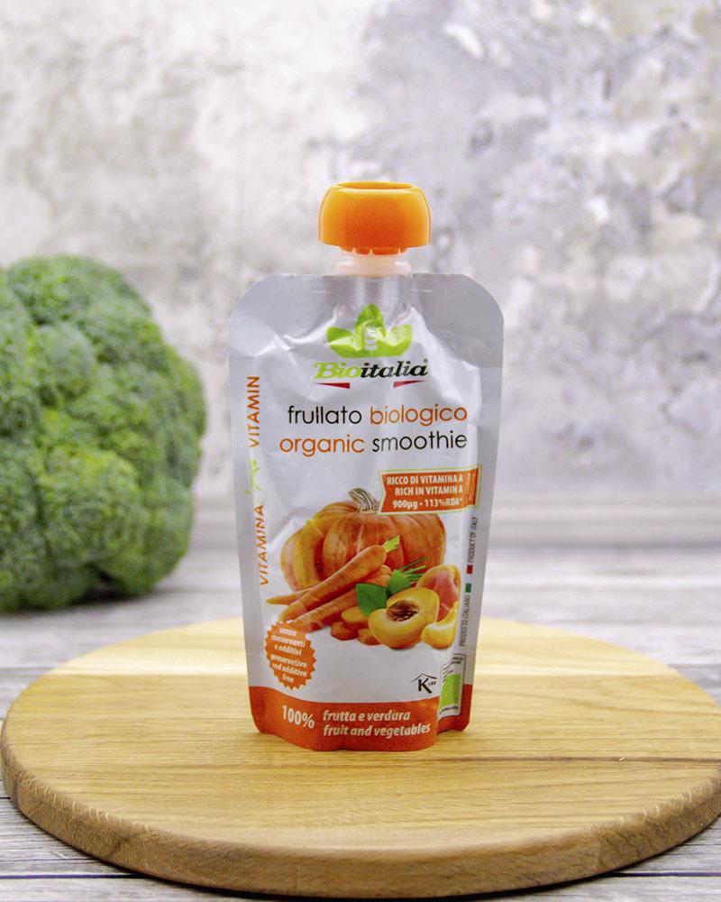 Пюре Bioitalia из моркови, абрикоса и тыквы-смузи 120 гр.