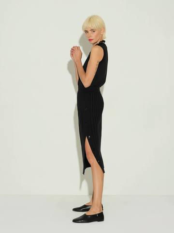 Женская юбка черного цвета из шелка и кашемира - фото 4