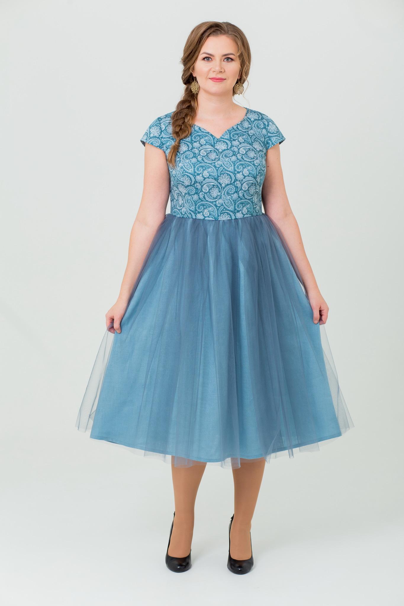 Вечернее платье пейсли с фатином купить