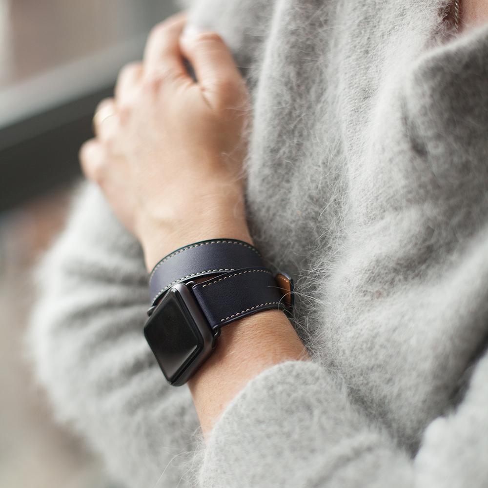Ремешок для Apple Watch 42мм ST Double Strap из натуральной кожи теленка, темно-синего цвета
