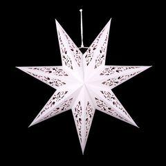 Звезда семиконечная бумажная 45 см, Вензель Белый+Розовый, 1 шт.