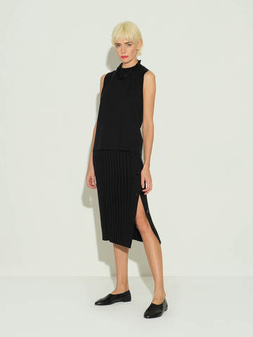 Женская юбка черного цвета из шелка и кашемира - фото 2