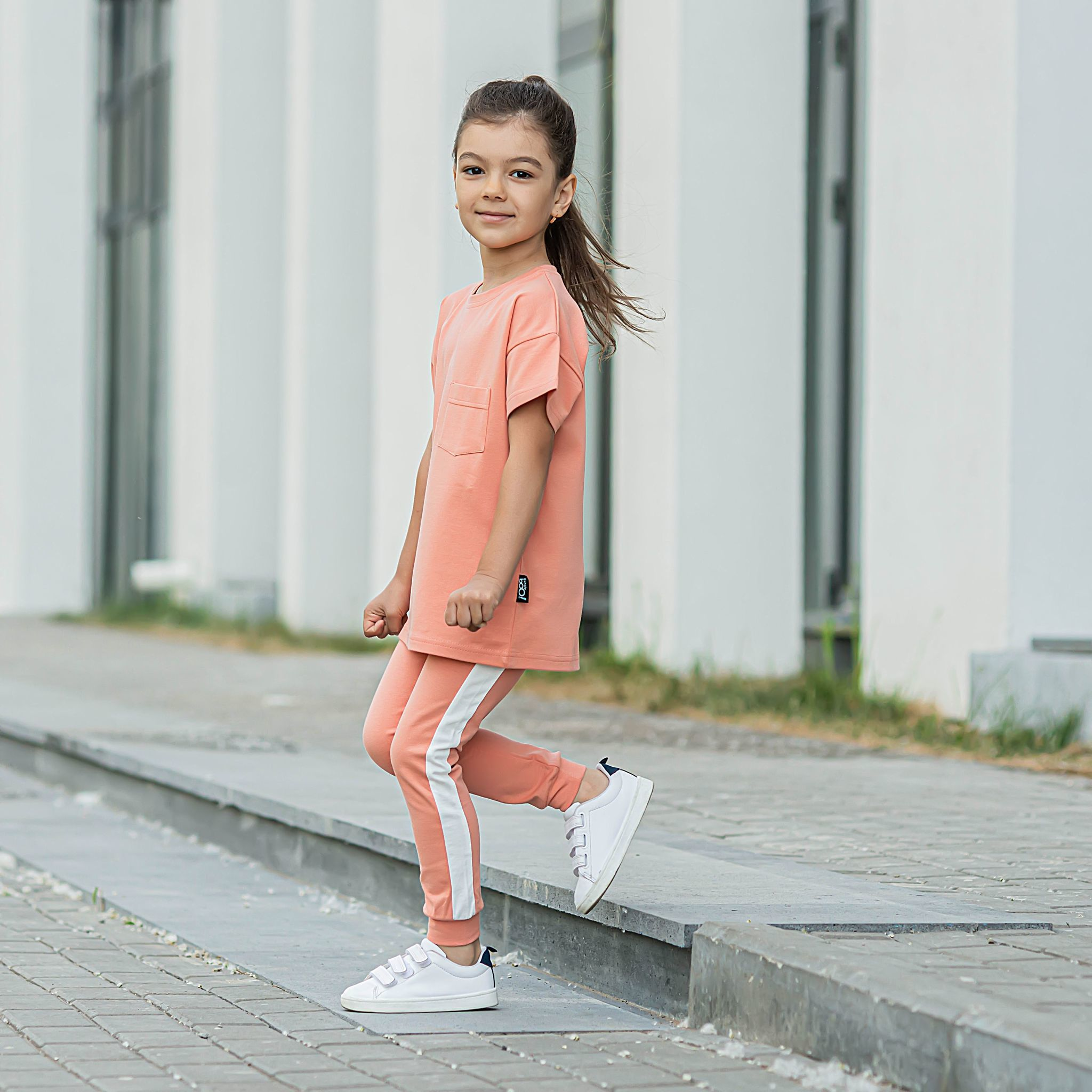 Leggings with stripes - Coral