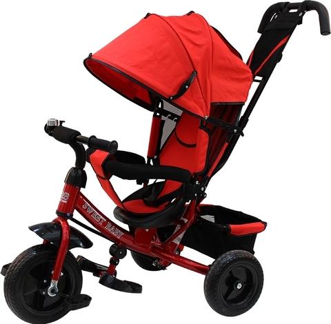 Детский трёхколёсный велосипед с ручкой (красный) Sweet baby - колёса EVA