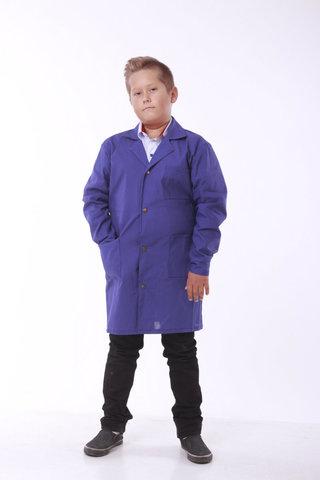 Халат шкільний робочий Garment Factory на кнопках, бавовна 100%, колір синій, 42 розмір