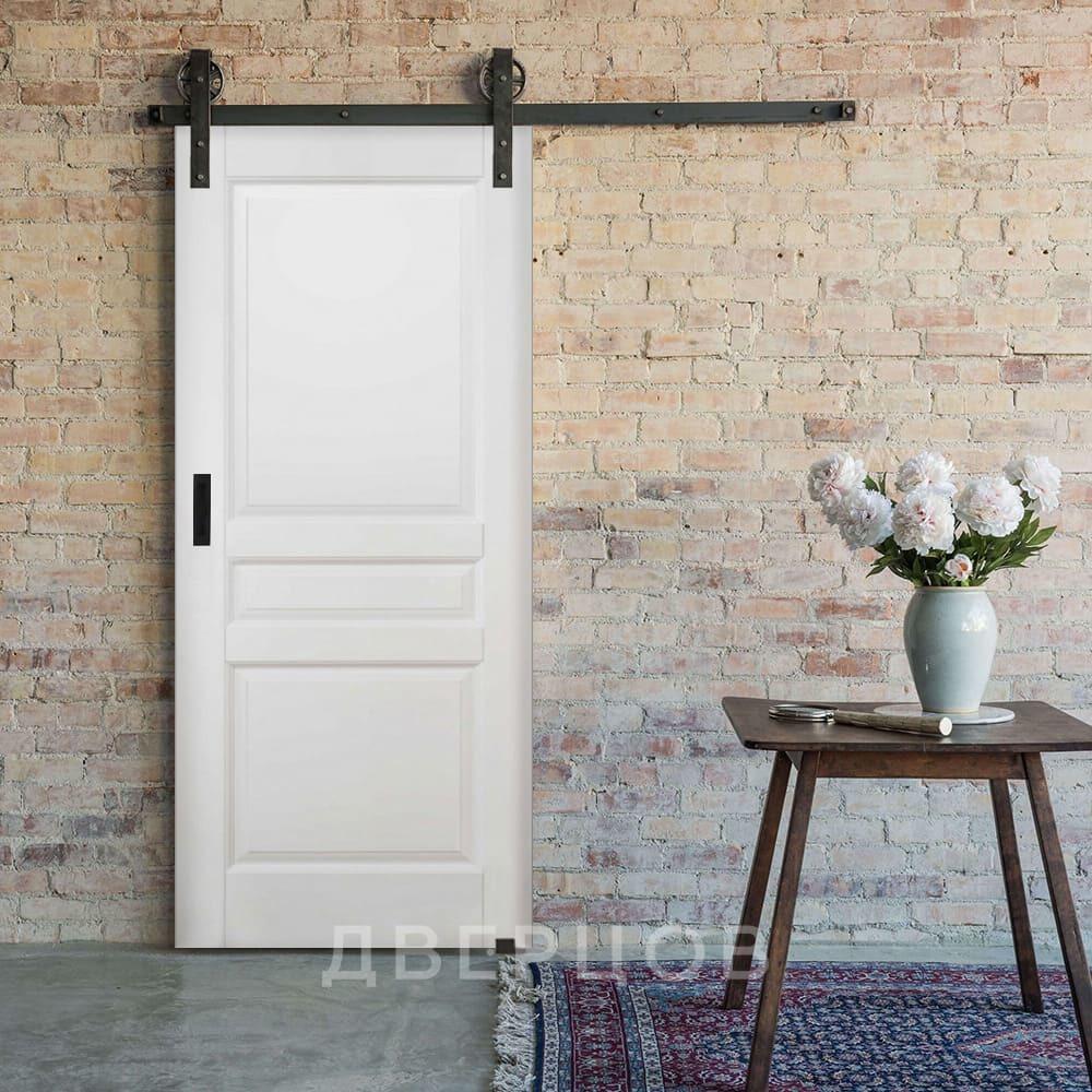 Амбарные двери Межкомнатная амбарная дверь массив ольхи ОКА Валенсия белая эмаль il-venecia-belaya.jpg