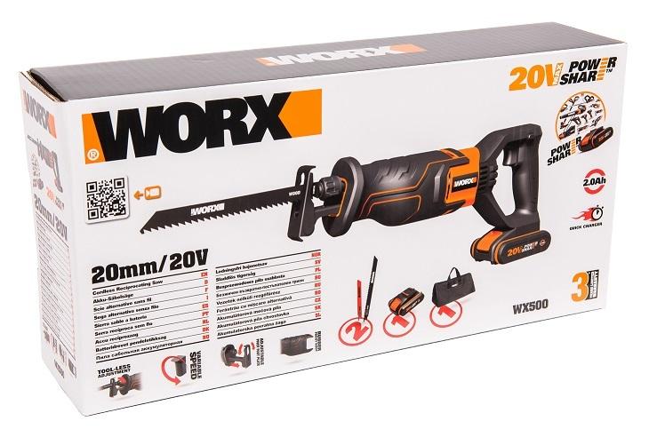 Сабельная пила аккумуляторная WORX WX500