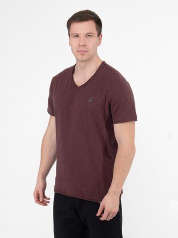 Мужская футболка «Великоросс» бордового цвета V ворот