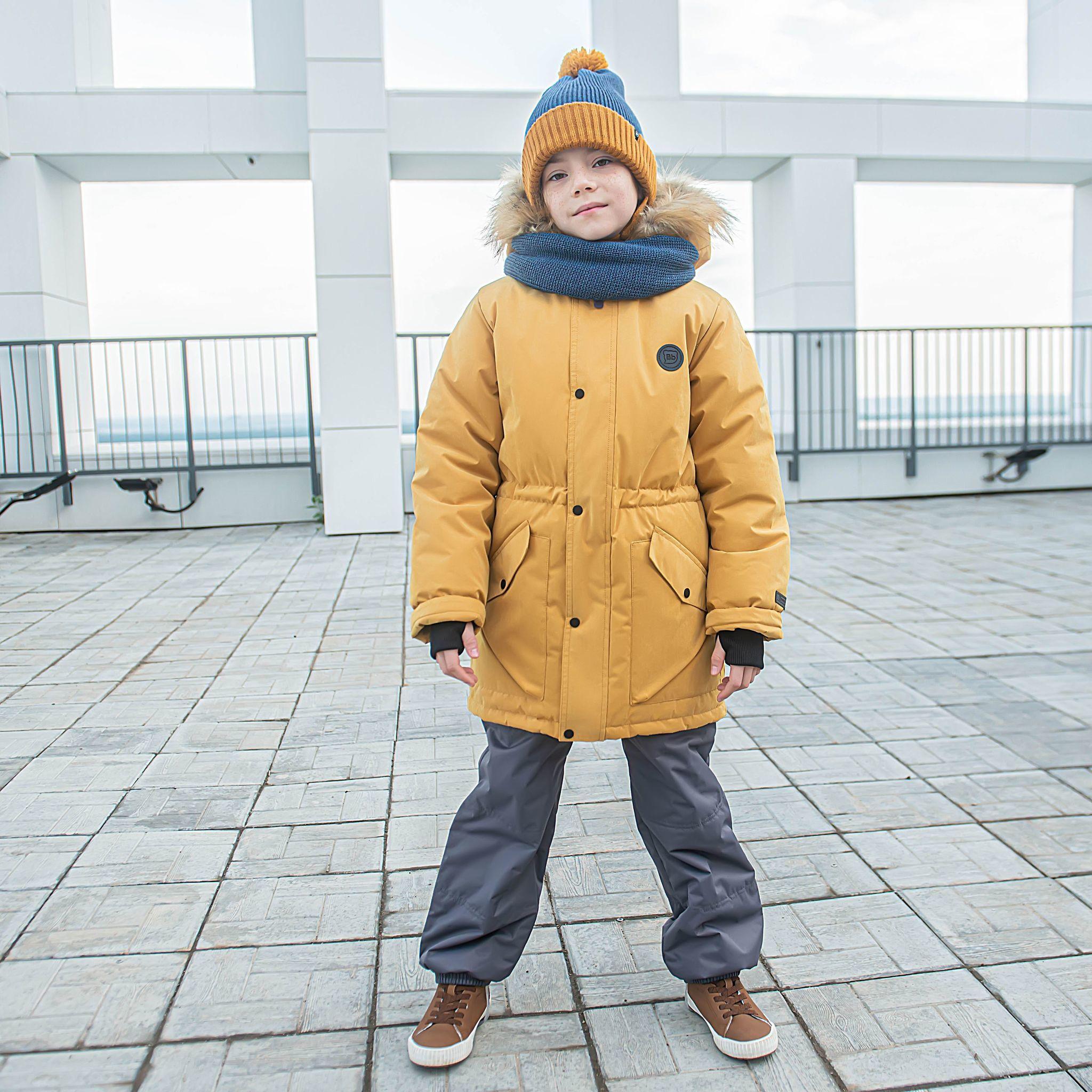 Winter membrane parka for teens - Mustard