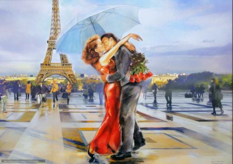 Алмазная Мозаика 40x50 Поцелуй влюбленных в Париже (арт. TCH8007)