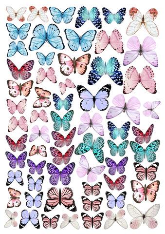 Печать на вафельной бумаге, Набор Бабочки 16