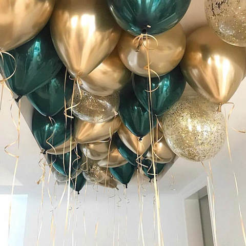 25 шаров 36 см золото хром, зелёный даблстафф, конфетти золото