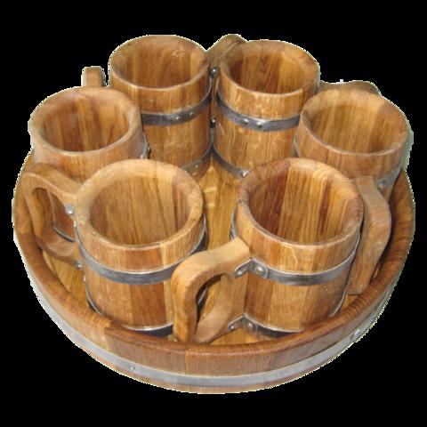 Набор пивной 6 кружек дубовый