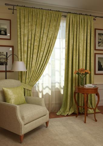 Комплект штор с подхватами и тюлем Вероника план люкс оливковый