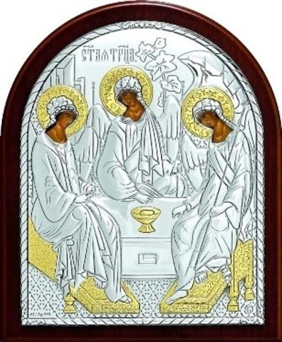 Серебряная с золочением икона Святой Троицы 11х9см