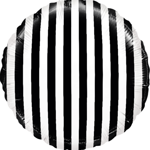 Фольгированный шар круг , в полоску, черно-белый, 46 см