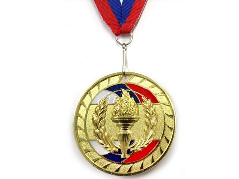 Медаль спортивная с лентой за 1 место. Диаметр 6,5 см: 1802-1