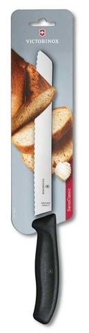 Нож для хлеба чёрный SwissClassic 21 см с волнистой кромкой VICTORINOX 6.8633.21B