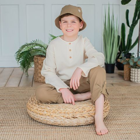 Cotton trousers for teens - Desert Sand