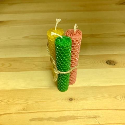 Набор из 3-х свечей из пчелиного воска, соты, 11 см, диаметр 2 см