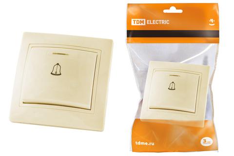 Кнопка звонковая с подсветкой 6А сл. кость