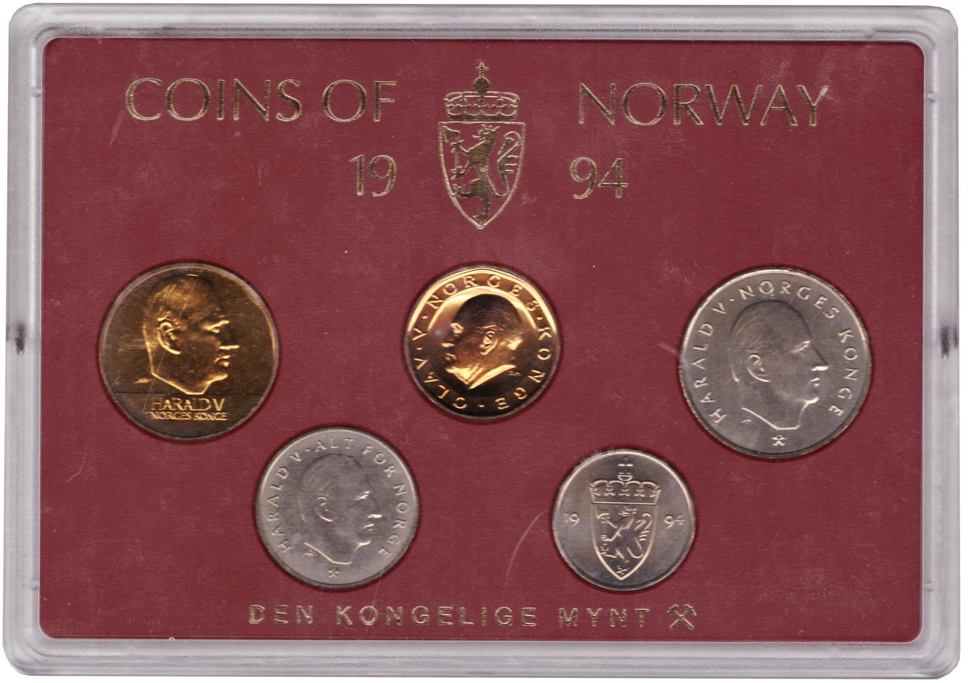 Набор монет Норвегии 1994 UNC в пластиковой упаковке