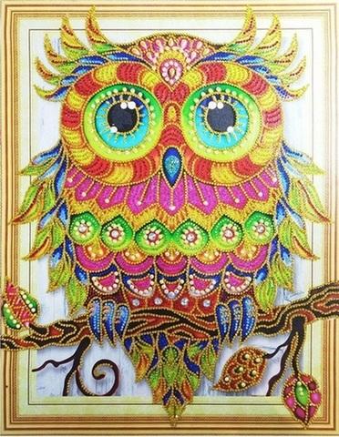 Алмазная Мозаика 5D 40x50 Совенок на ветке