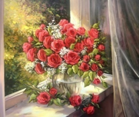 Картина раскраска по номерам 30x40 Букет красных роз у окна (арт. KTL1876)