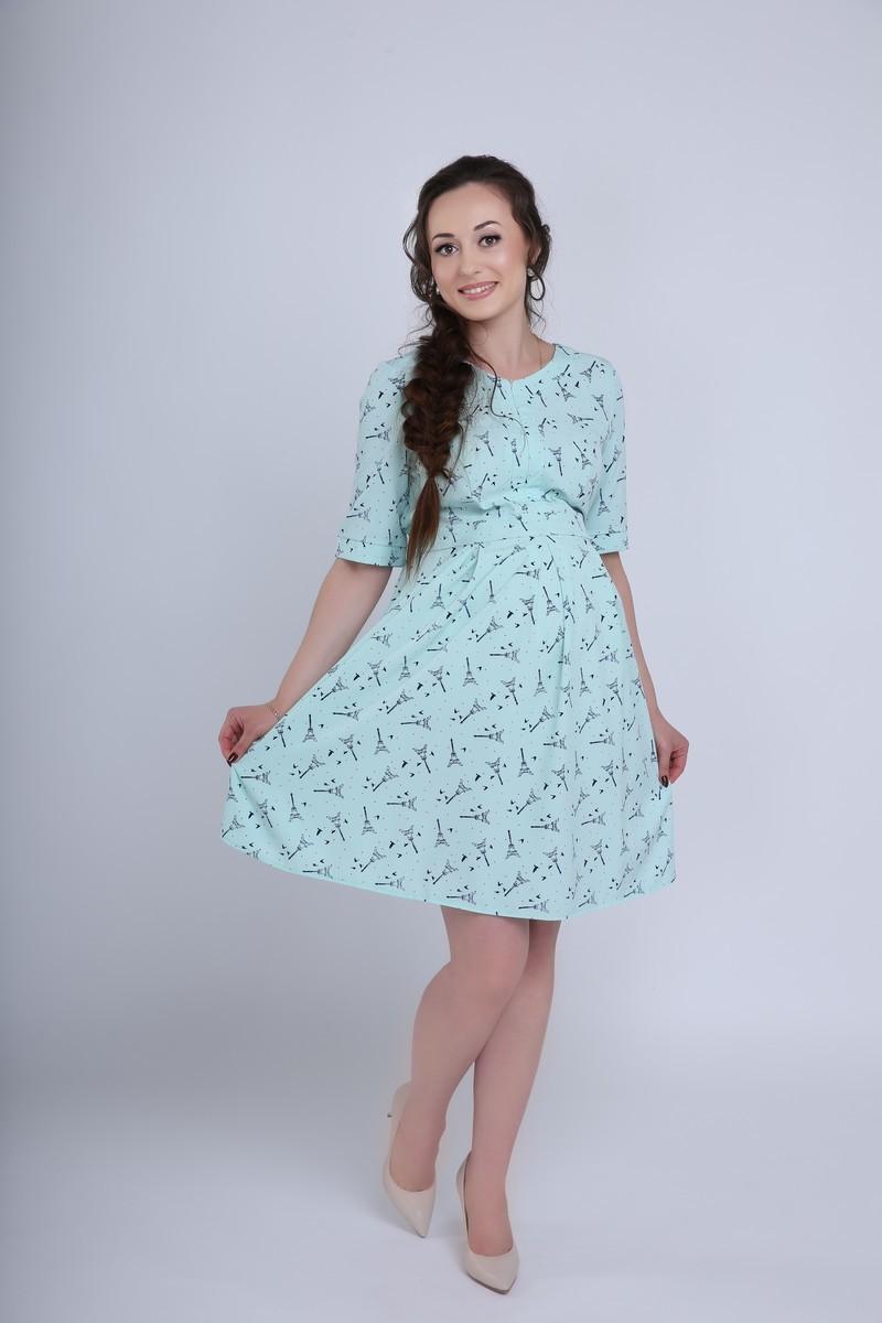 Фото платье для беременных и кормящих MAMA`S FANTASY от магазина СкороМама, ментол, размеры.