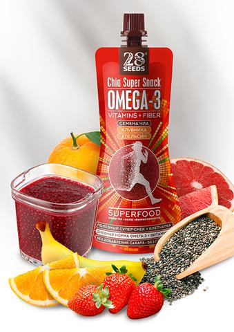 Супер-снек ЧИА ОМЕГА-3 «Клубника + Апельсин» без сахара