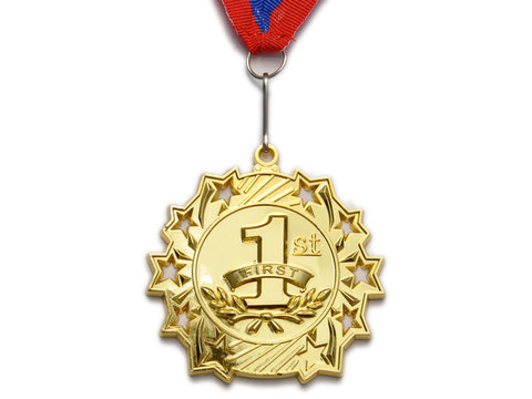Медаль спортивная с лентой за 1 место. Диаметр 6 см: 1803-1