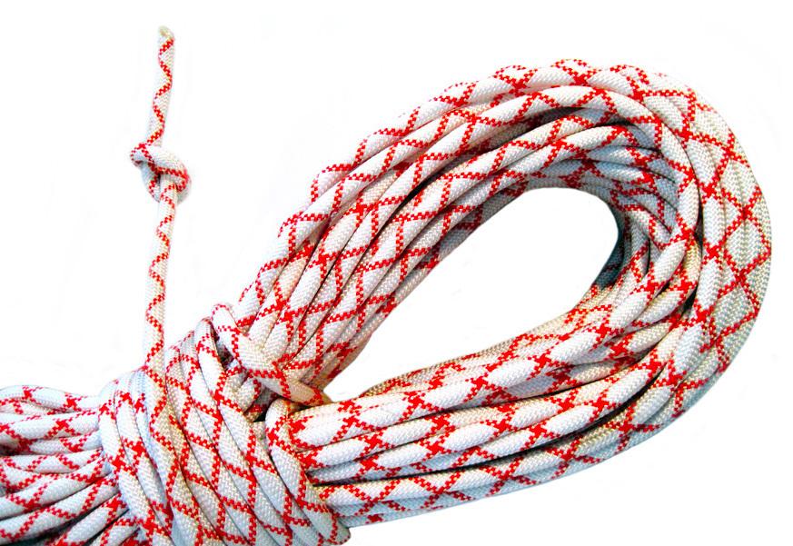 Веревка динамическая СС 48 - 10мм (бело-красная)