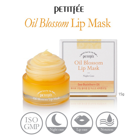 Ночная маска для губ c маслом облепихи Petitfee Oil Blossom Lip Mask Sea Buckthorn Oil